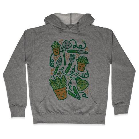 Kawaii Plants and Gardening Tools Hooded Sweatshirt