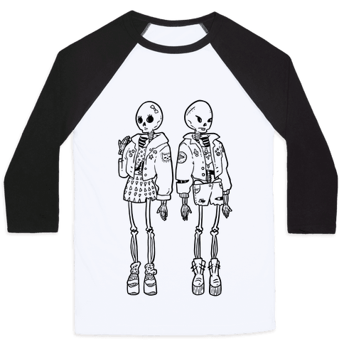 Skeleton Girls Baseball Tee