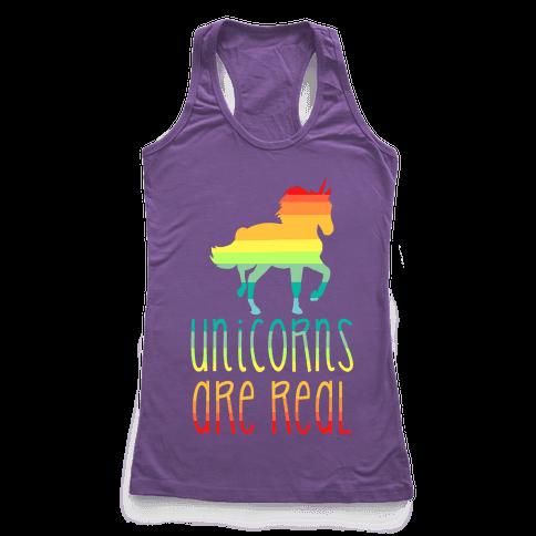 Rainbow Unicorns Are Real Racerback Tank Top