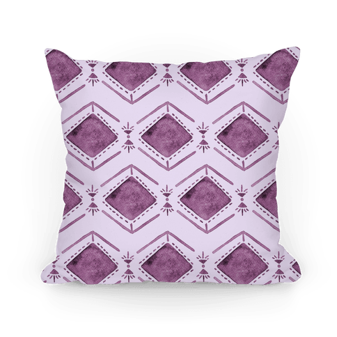 Purple Watercolor Tribal Pattern Pillow