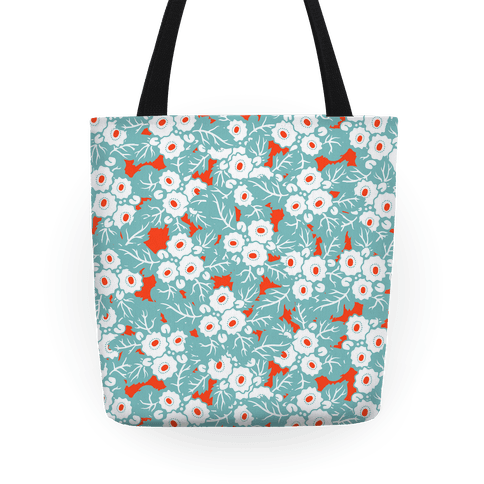 Mint and Vermillion Flora Tote