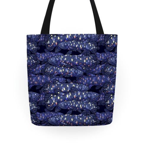 Nautical Coelacanth Fish Pattern Tote
