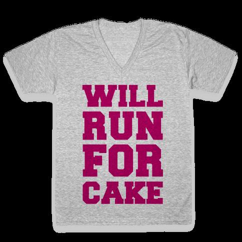 Will Run For Cake V-Neck Tee Shirt