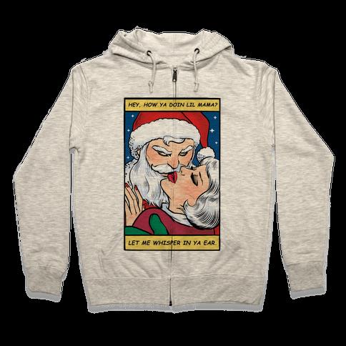 Santa Romance Comic Zip Hoodie