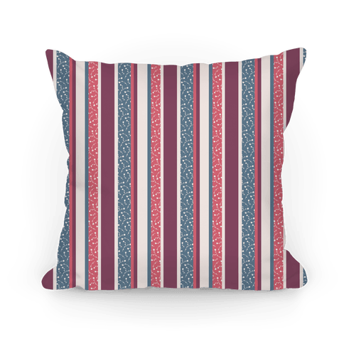 Pink, Blue, and Purple Floral Striped Pattern Pillow