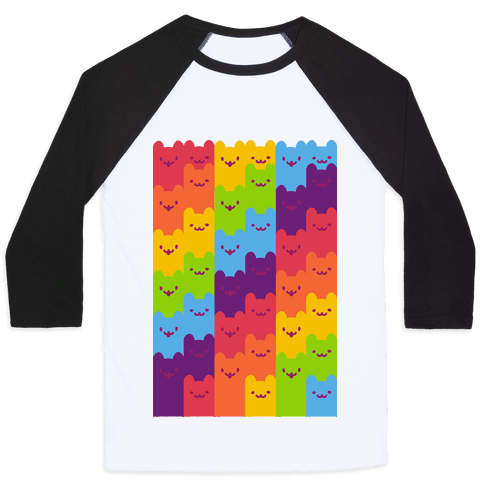Rainbow Cats Baseball Tee