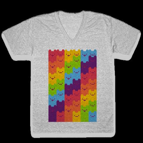 Rainbow Cats V-Neck Tee Shirt