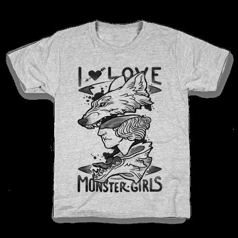 I Love Monster Girls Kids T-Shirt