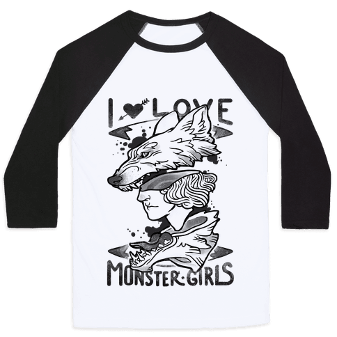 I Love Monster Girls Baseball Tee