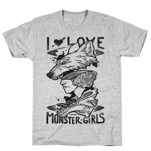 I Love Monster Girls Mens T-Shirt