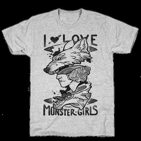 I Love Monster Girls Mens T-Shirt