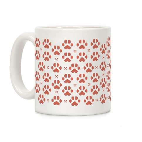 Pixel Kitty Cat Paw Prints Coffee Mug
