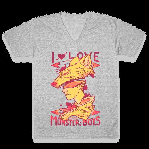I Love Monster Boys V-Neck Tee Shirt
