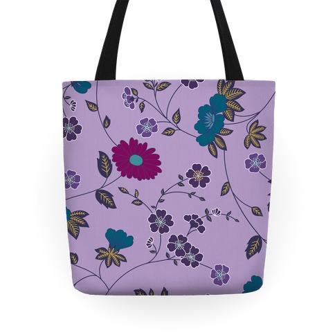 Pretty Floral Pattern Tote (Purple) Tote