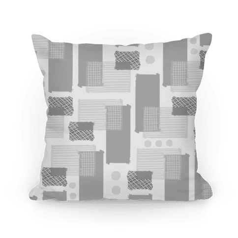 Gray Geometric Pattern Pillow
