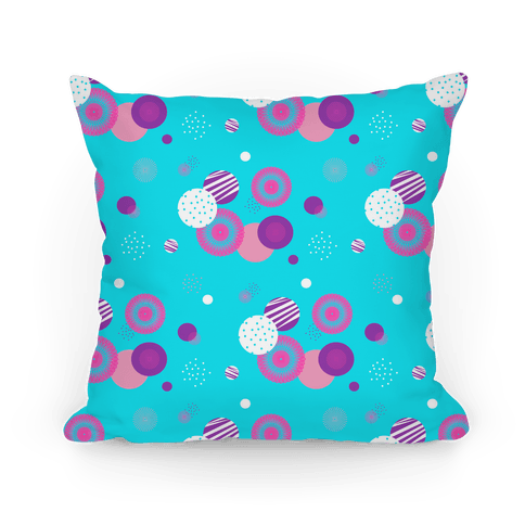 Sky Blue Radials and Circles Pattern Pillow