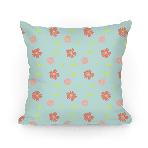 Light Blue Floral Tossed Pattern Pillow