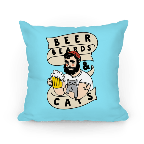 Beer, Beards and Cats Pillow