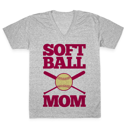 Softball Mom V-Neck Tee Shirt
