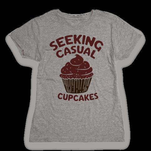 Seeking Casual Cupcakes Womens T-Shirt