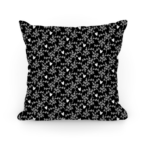 Black and White Floral Hearts Pattern Pillow