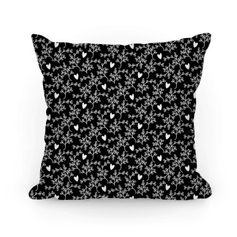 Black and White Floral Hearts Pattern