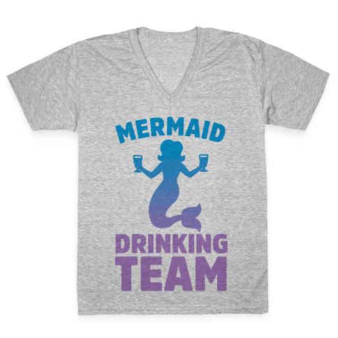 Mermaid Drinking Team V-Neck Tee Shirt
