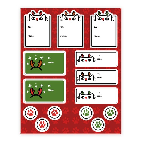 Reindeer Cat Gift Tag Sticker/Decal Sheet