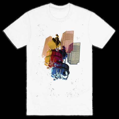 TriColor Space Satellite Mens T-Shirt