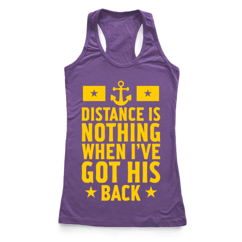 I've Got His Back (Navy) Racerback Tank Top