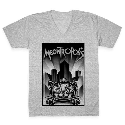 Meowtropolis (Metropolis Parody) V-Neck Tee Shirt