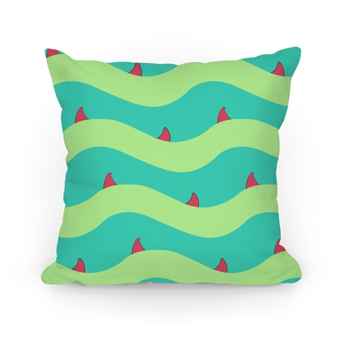 Green Shark Fins Waves Pattern Pillow