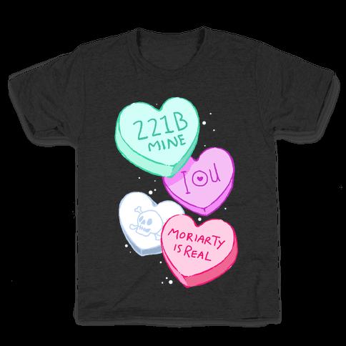 Sherlock Valentines Hearts Kids T-Shirt