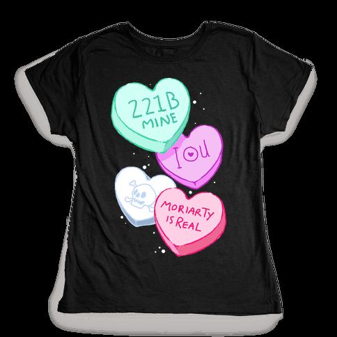 Sherlock Valentines Hearts Womens T-Shirt