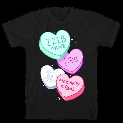 Sherlock Valentines Hearts Mens T-Shirt