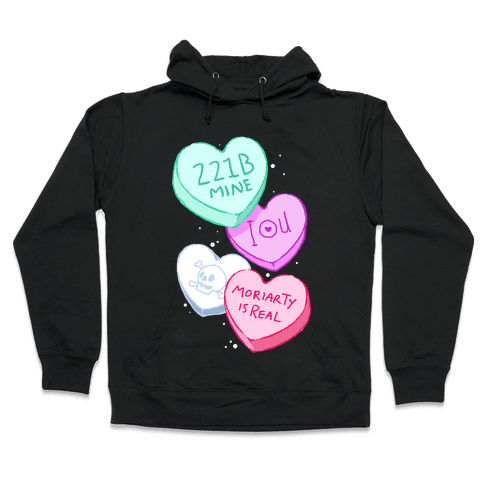 Sherlock Valentines Hearts Hooded Sweatshirt