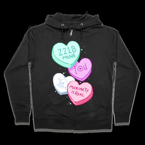Sherlock Valentines Hearts Zip Hoodie