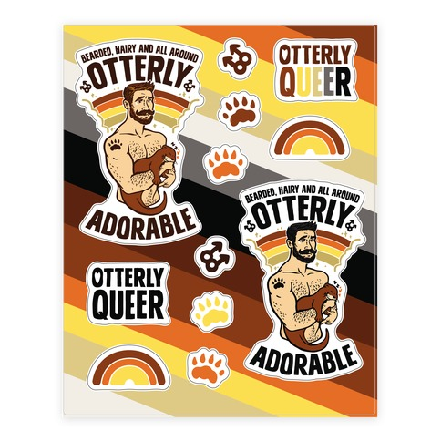 Bearded Hairy and All Around Otterly Adorable Sticker and Decal Sheet