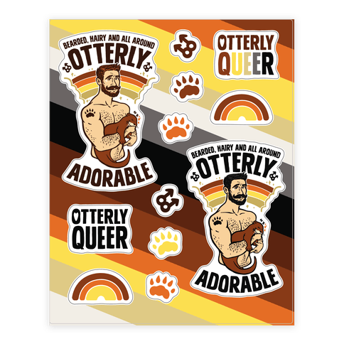 Bearded Hairy and All Around Otterly Adorable Sticker/Decal Sheet