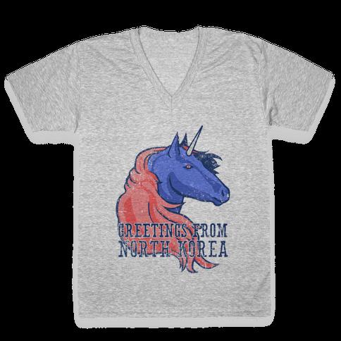 North Korean Unicorn (Vintage) V-Neck Tee Shirt