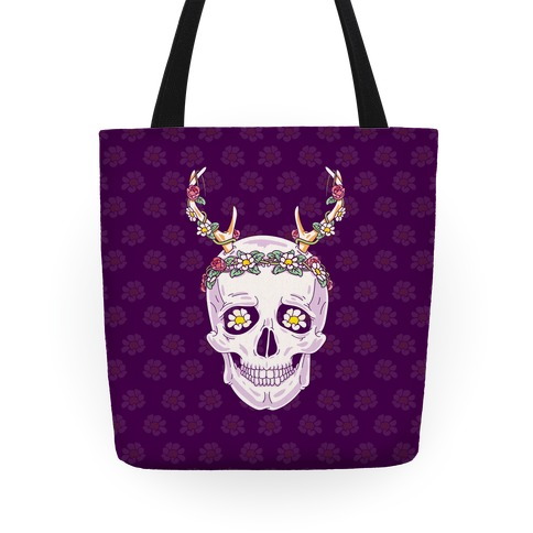 Flower Crown Skull Tote