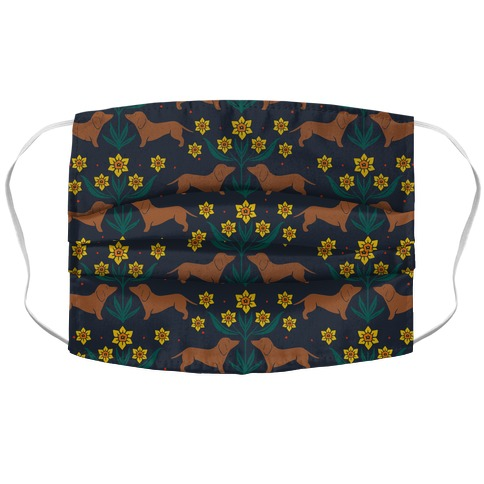 Dachshunds and Daffodils Navy Blue Accordion Face Mask