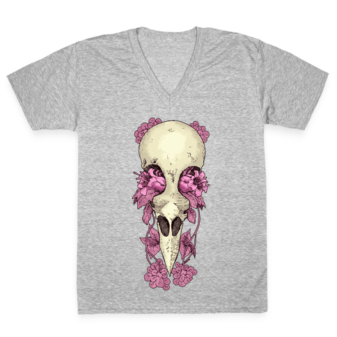 Bird Skull V-Neck Tee Shirt