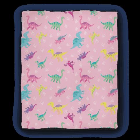 Cute Pastel Pixel Dinosaur Pattern Blanket