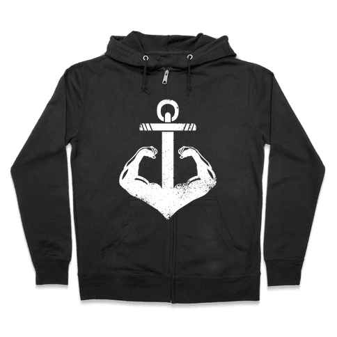 Swole Anchor (White Ink) Zip Hoodie