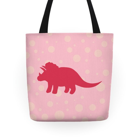 Pink Polkda Dot Triceratops Tote