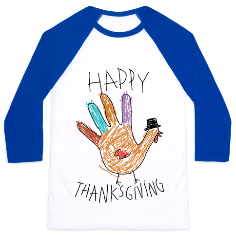 Happy Thanksgiving Hand Turkey Baseball Tee