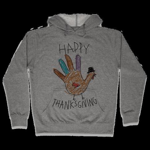 Happy Thanksgiving Hand Turkey Hooded Sweatshirt
