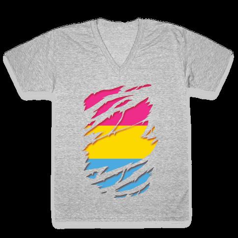 Ripped Shirt: Pan Pride V-Neck Tee Shirt