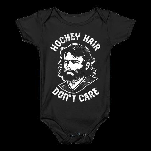 Hockey Hair Don't Care Baby Onesy